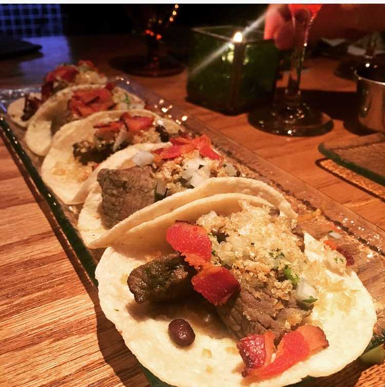 TACOS DE CARNE EN SU JUGO | pan seared filet, bacon, tomatillo, serrano chile, cilantro, cured onions, corn tortilla, crispy chicharron