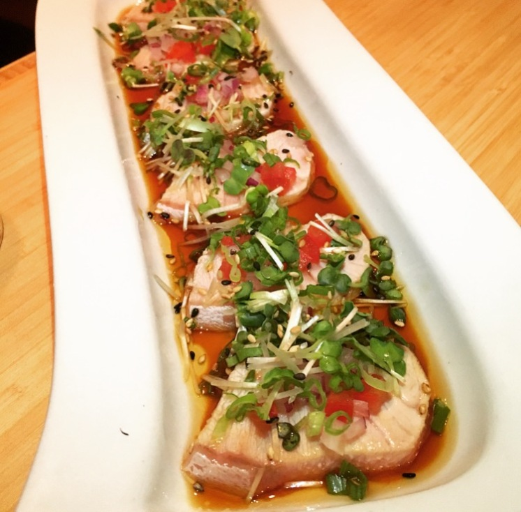 HAMACHI CARPACCIO | torched yellowtail, red onion, tomato, sesame oil, ponzu, goma, negi, kaiware