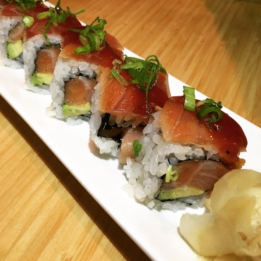 HAMACHI SAKE ZUKE MAGURO   yellowtail, salmon, soy marinated tuna, avocado, yakiniku, scallion